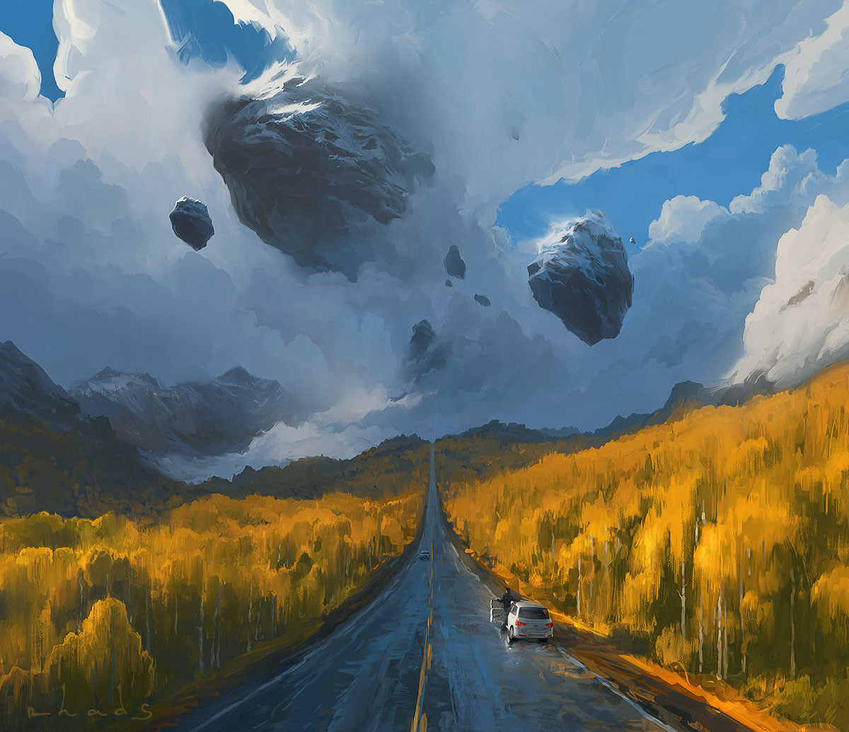 Digital Painting Illustration Artem Chebokha Rhads Rock Clouds Road