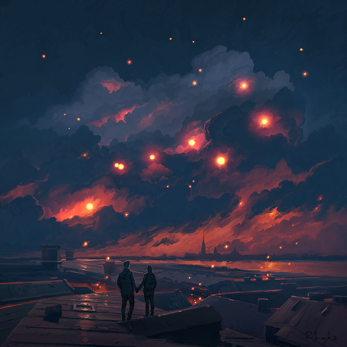 Digital Painting Illustration Artem Chebokha Rhads Night Lighting Stars