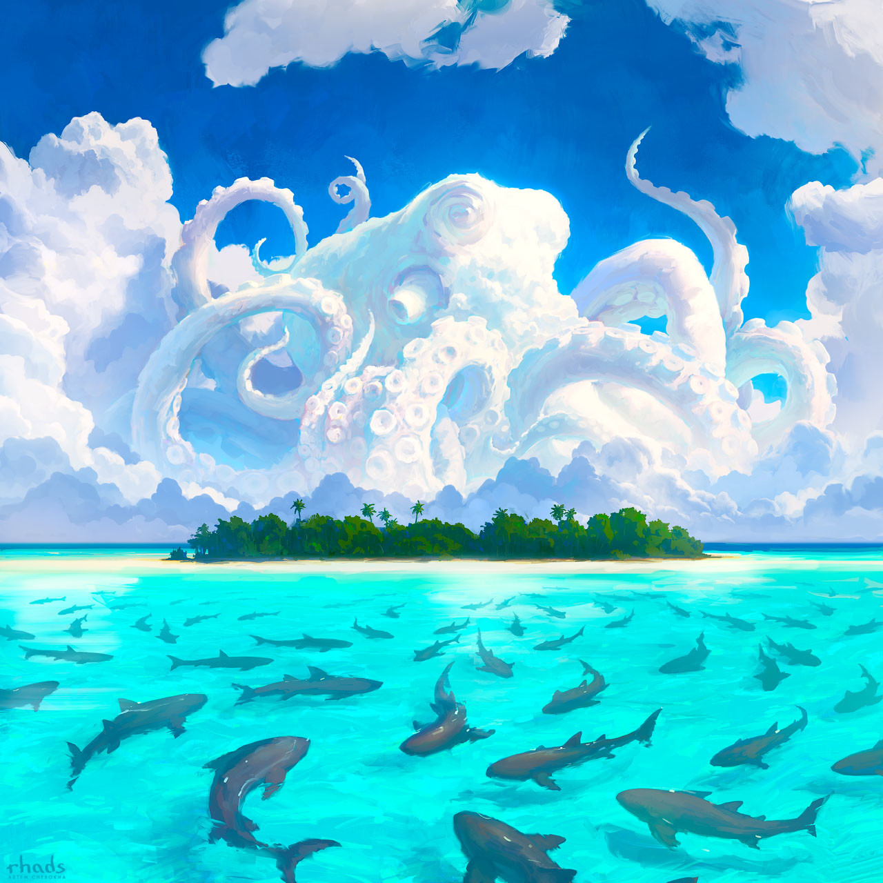 Digital Painting Illustration Artem Chebokha Rhads Cloud Octopus Island Shark