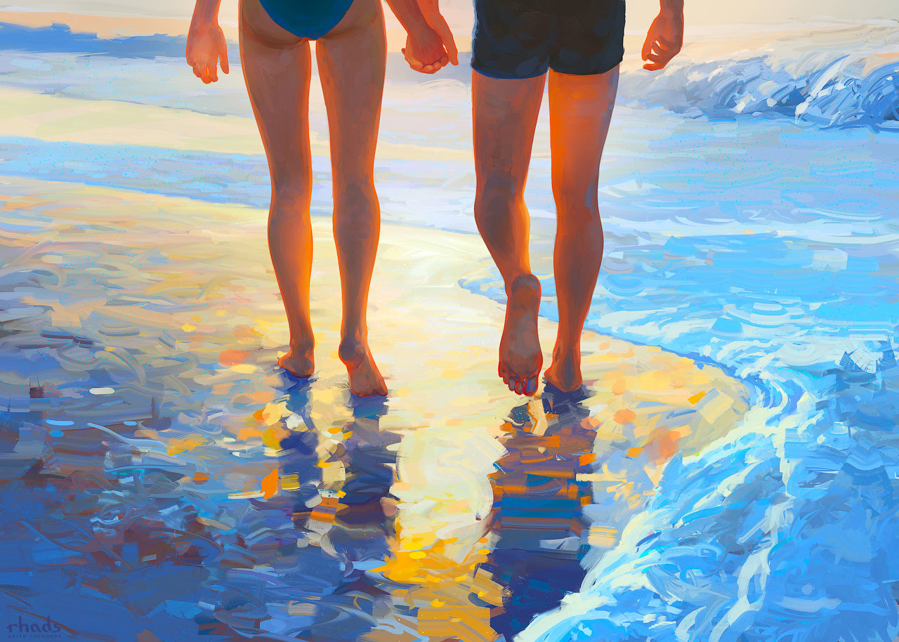 Digital Painting Illustration Artem Chebokha Rhads Couple Light beach wave sand