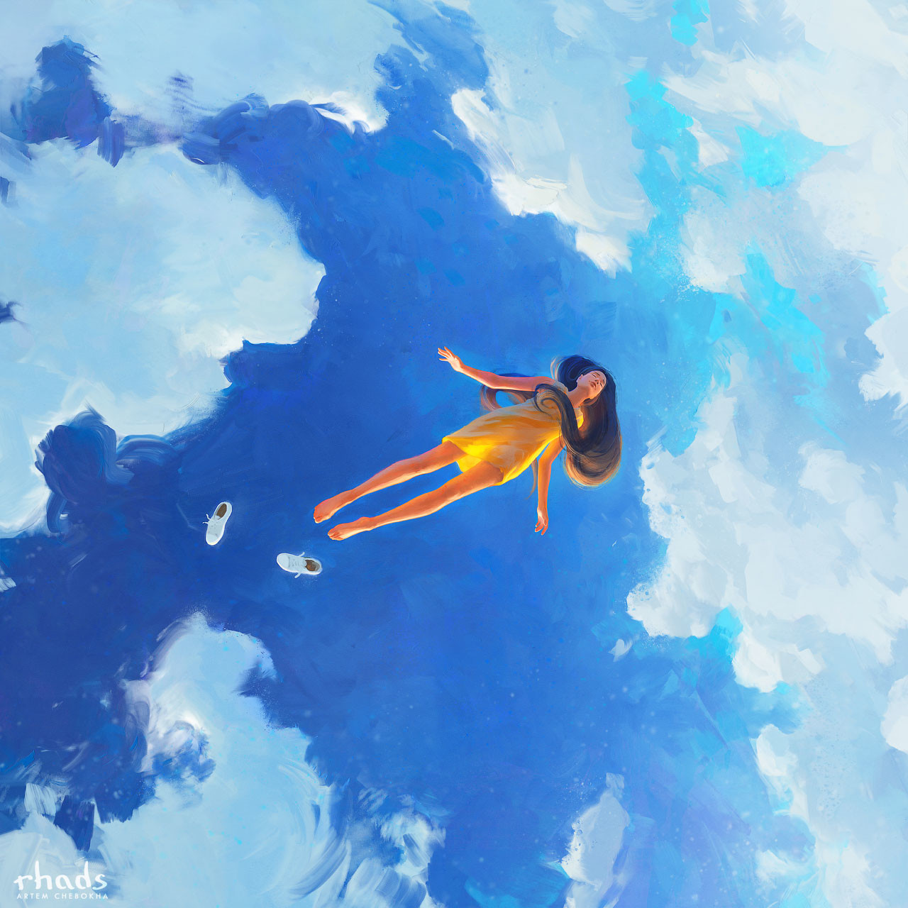 Digital Painting Illustration Artem Chebokha Rhads Woman flotting flying Sky Clouds