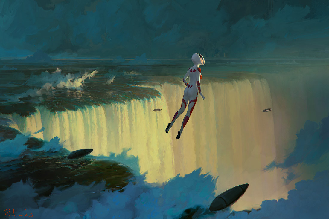 Digital Painting Illustration Artem Chebokha Rhads Woman Flying sea