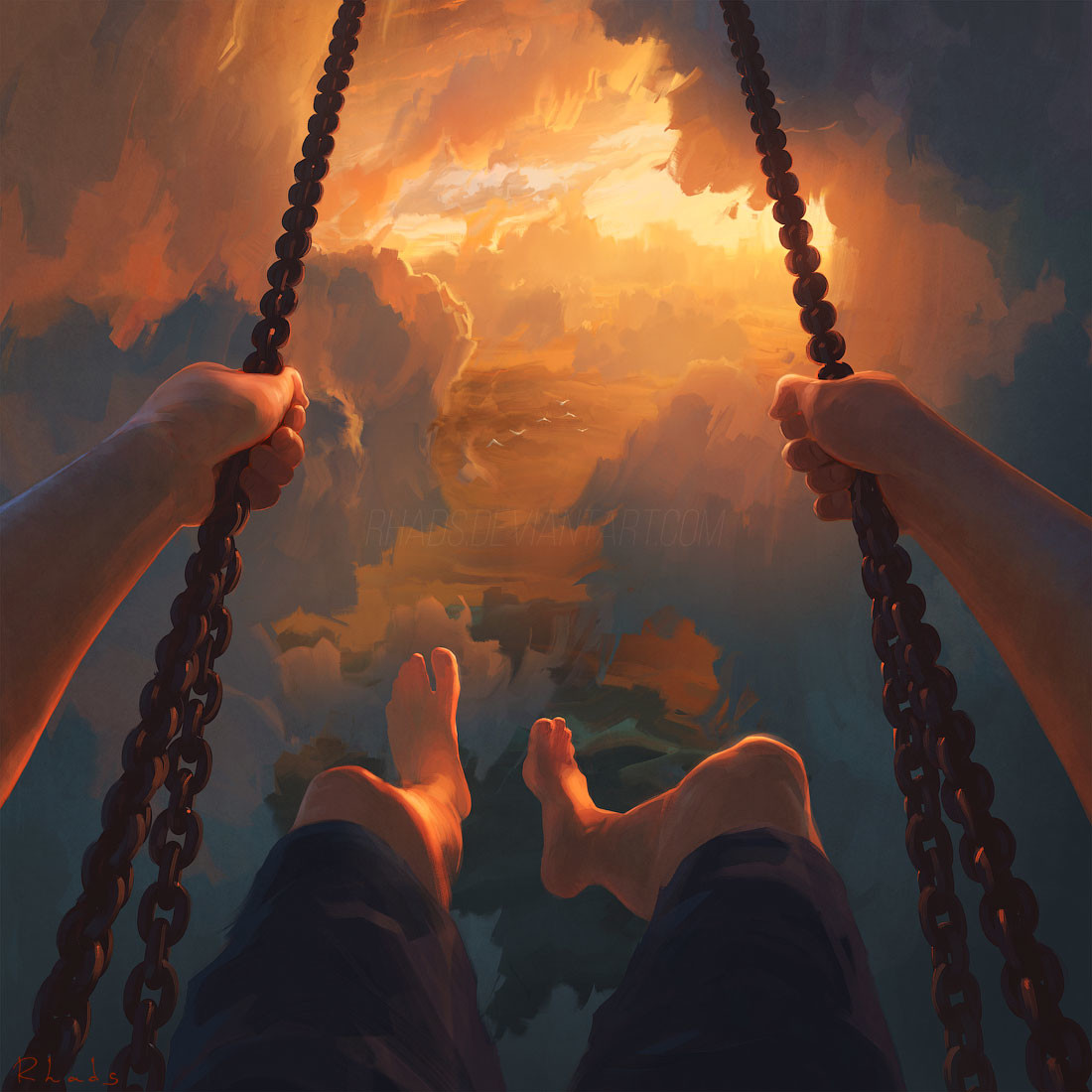 Digital Painting Illustration Artem Chebokha Rhads Clouds playing