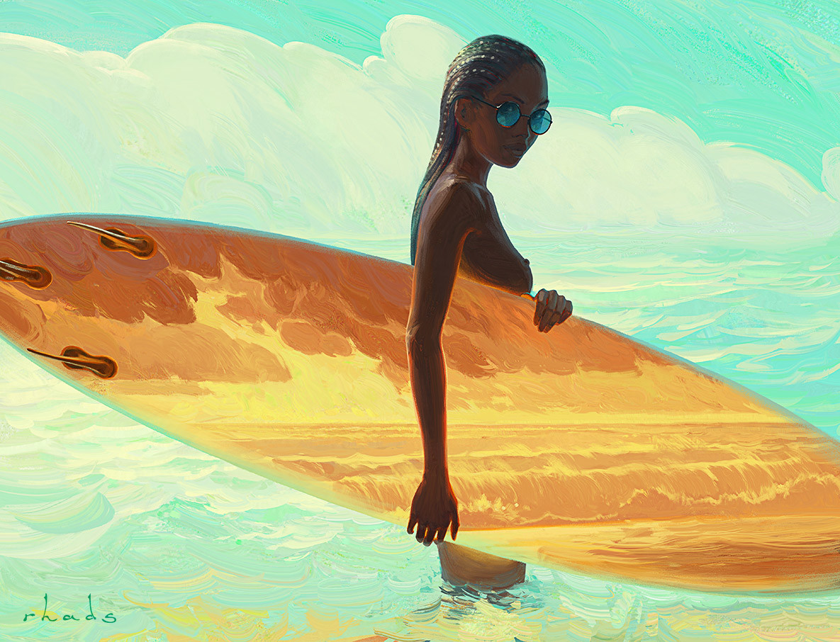 Digital Painting Illustration Artem Chebokha Rhads Surf Woman Sea