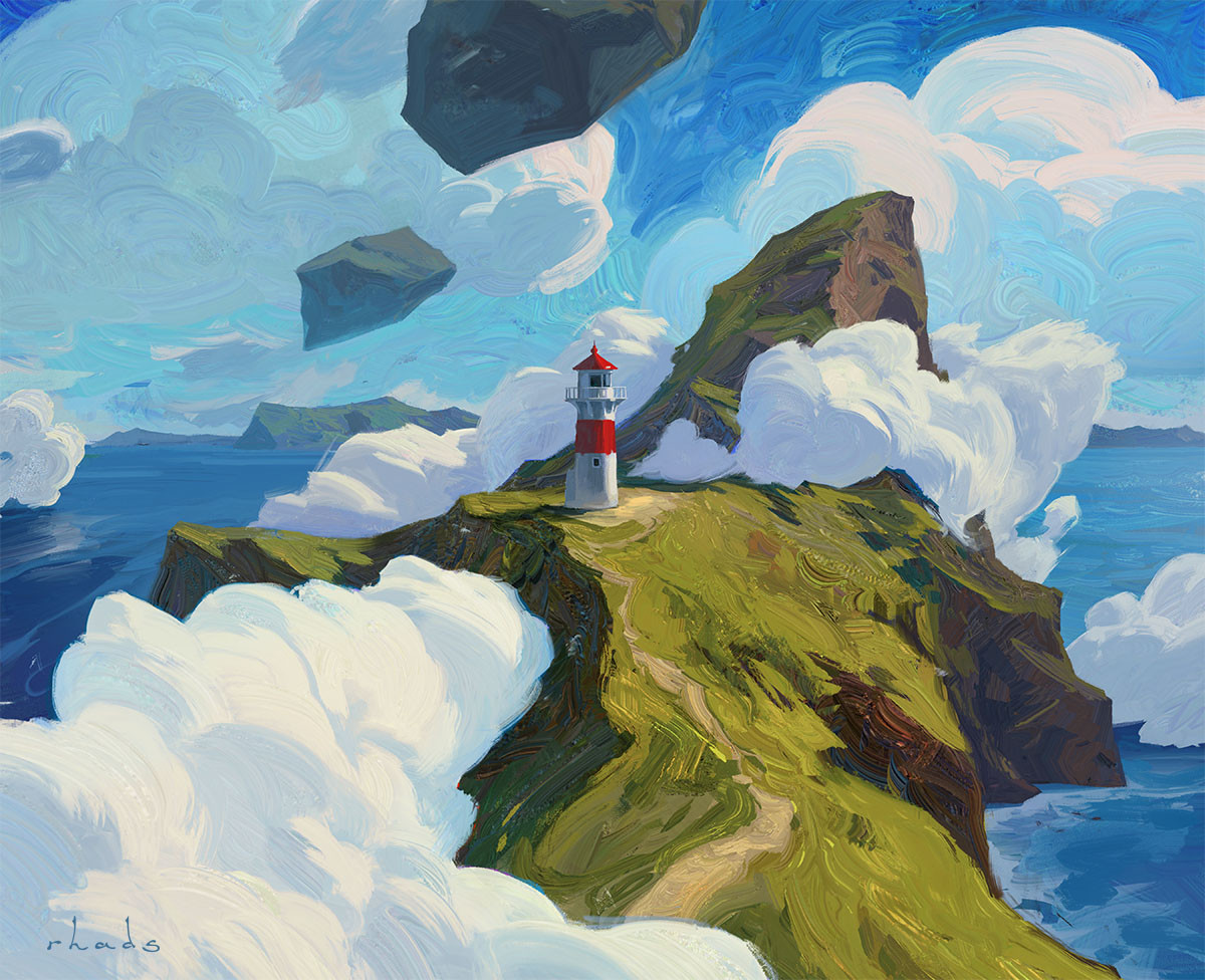 Digital Painting Illustration Artem Chebokha Rhads Lighthouse sea Clouds