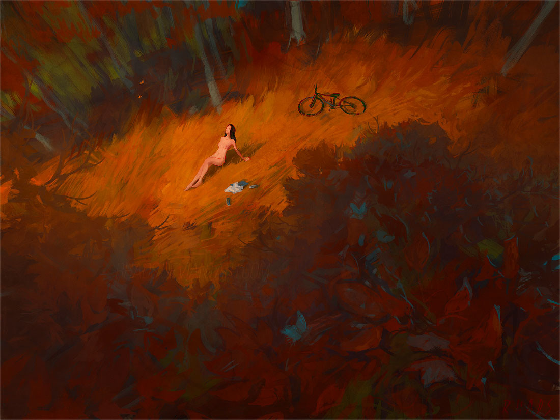 Digital Painting Illustration Artem Chebokha Rhads Woman Naked Forest orange Bike