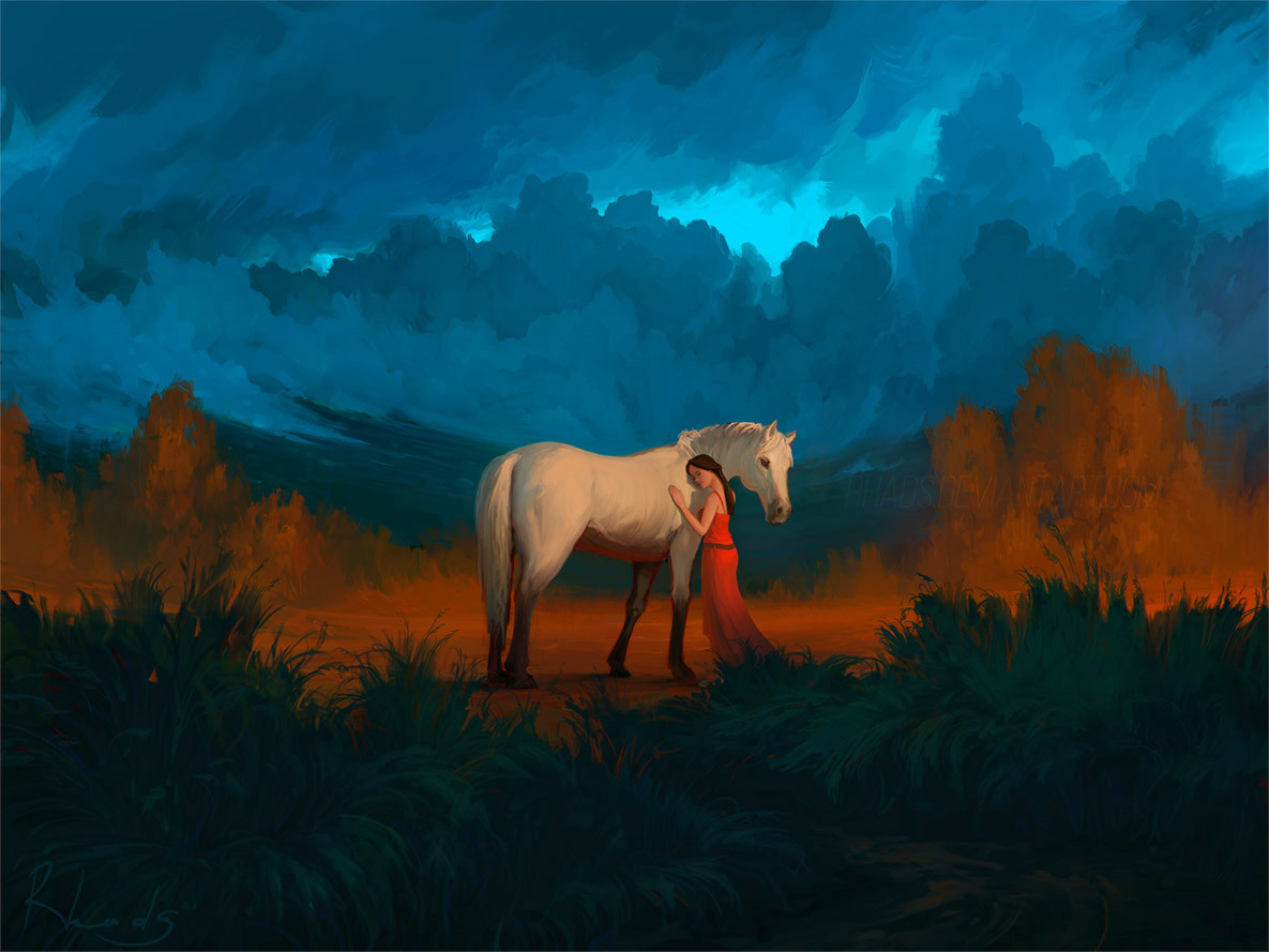 Digital Painting Illustration Artem Chebokha Rhads Woman red Dresse White horse