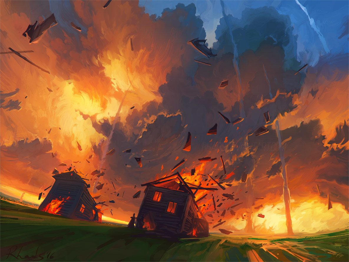 Digital Painting Illustration Artem Chebokha Rhads Fire House bomb