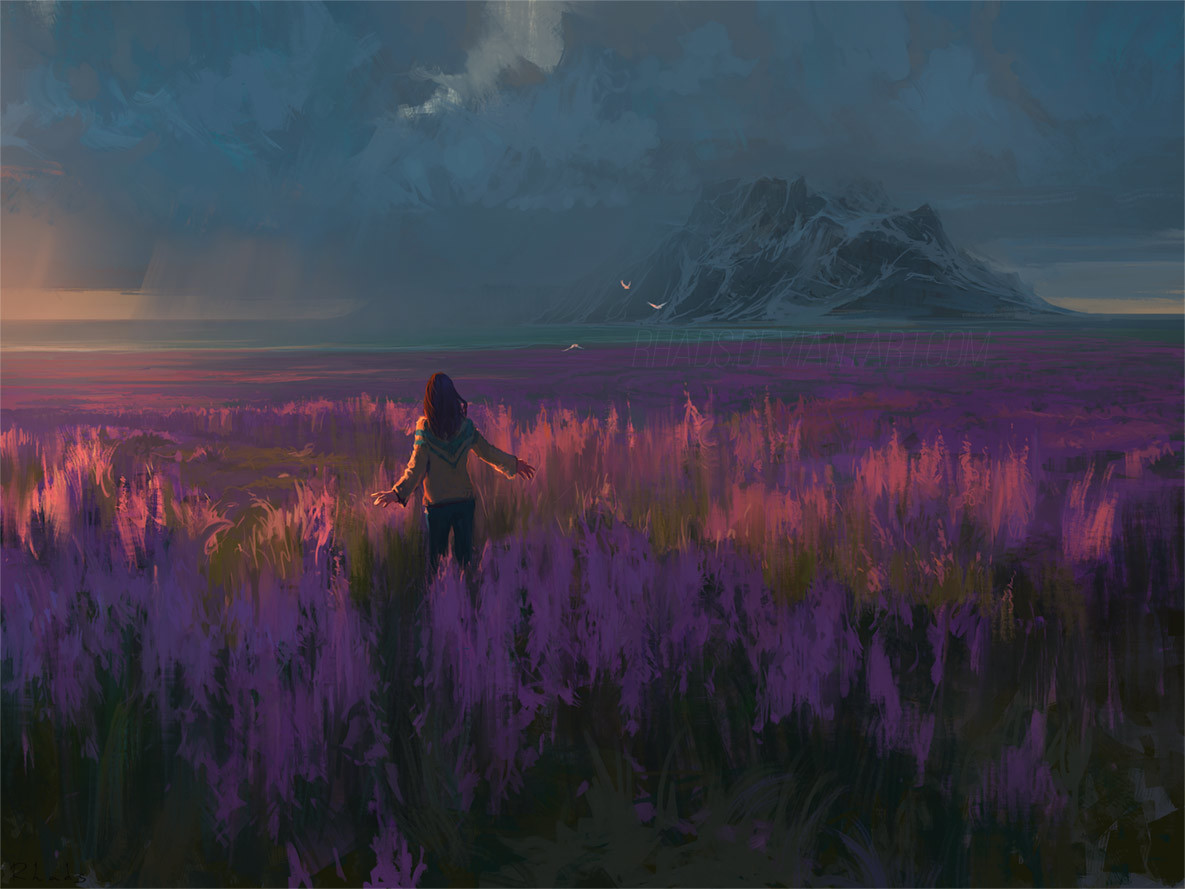 Digital Painting Illustration Artem Chebokha Rhads Woman Fields mountain lavander twilight