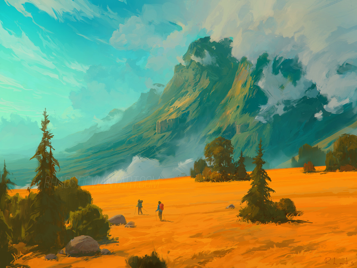 Digital Painting Illustration Artem Chebokha Rhads man woman walking yellow fields mountains