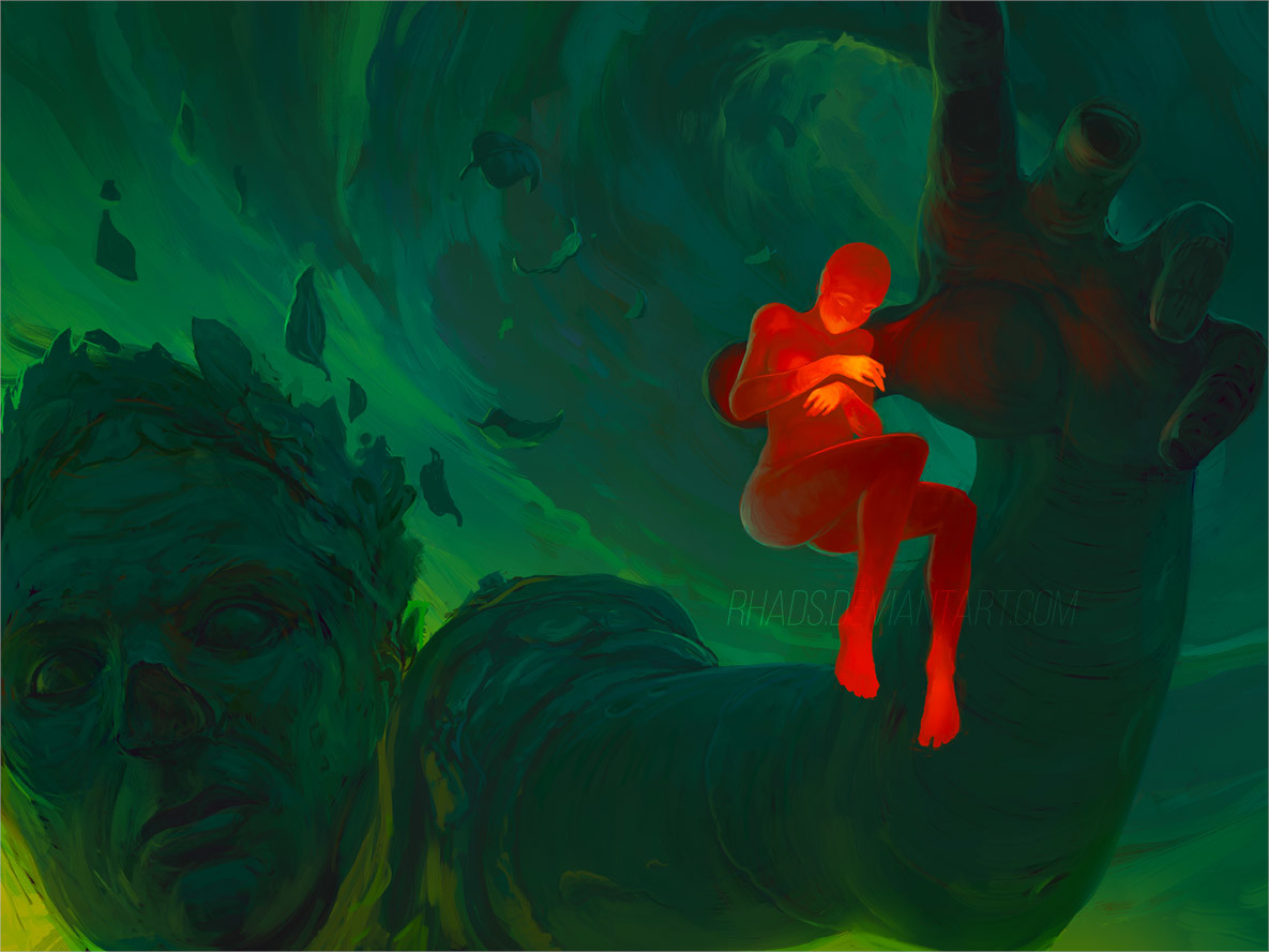 Digital Painting Illustration Artem Chebokha Rhads Green Giant red woman