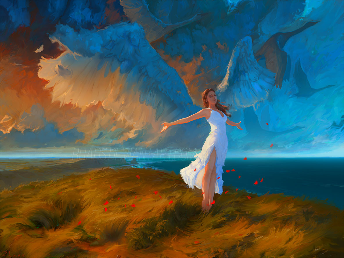 Digital Painting Illustration Artem Chebokha Rhads Woman Wings Angel Orange Blue
