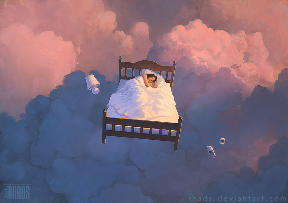 Digital Painting Illustration Artem Chebokha Rhads WOman sleeping sky