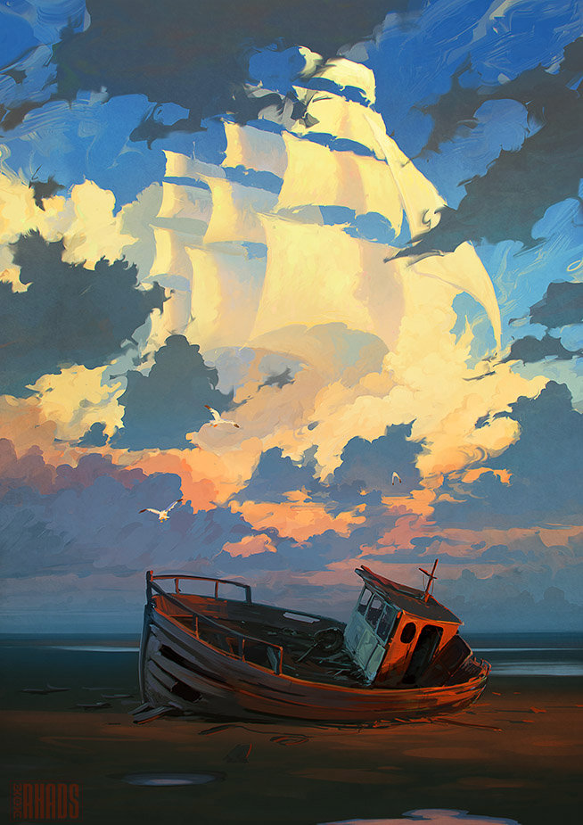 Digital Painting Illustration Artem Chebokha Rhads Boat clouds