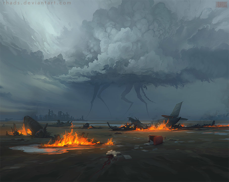 Digital Painting Illustration Artem Chebokha Rhads Fly Fire Aliens