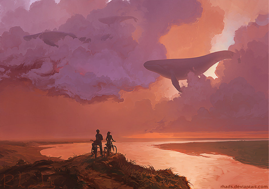 Digital Painting Illustration Artem Chebokha Rhads Whale Clouds Bike Sea