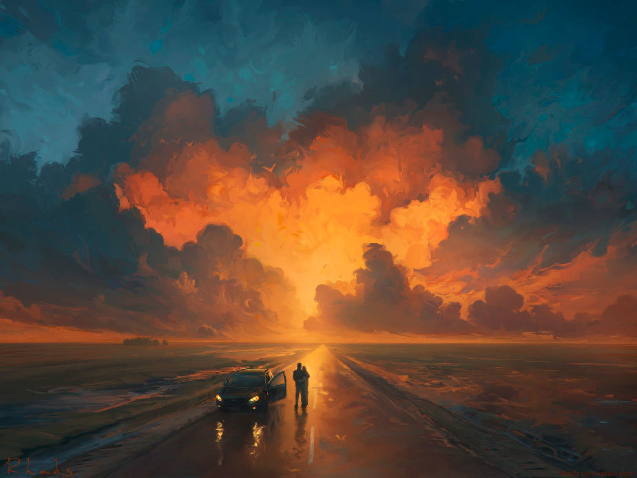 Digital Painting Illustration Artem Chebokha RhadsSunset Car Clouds