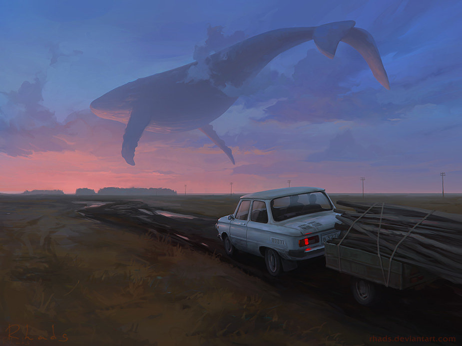 Digital Painting Illustration Artem Chebokha Rhads Giant Whale Sky