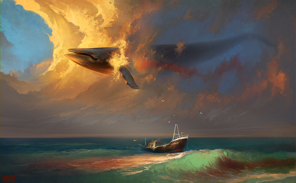 Digital Painting Illustration Artem Chebokha Rhads Sky Whalee Boat