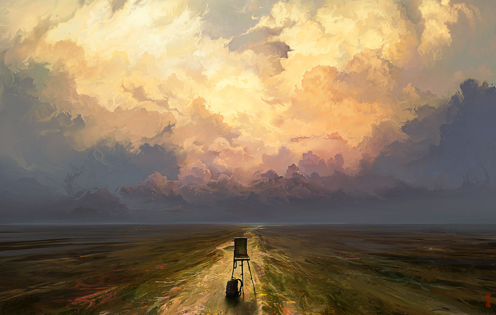 Digital Painting Illustration Artem Chebokha Rhads Chair Road Sky Clouds