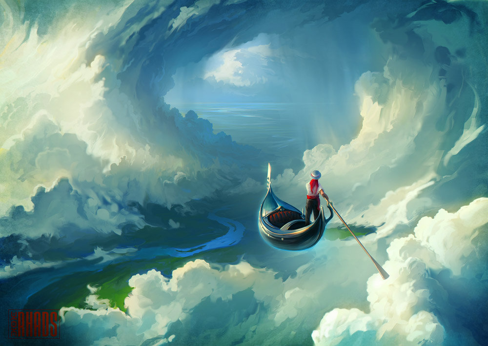 Digital Painting Illustration Artem Chebokha Rhads Boat Flying