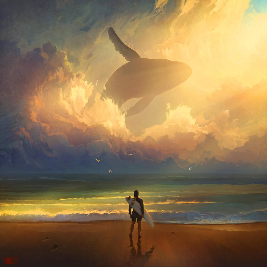 Digital Painting Illustration Artem Chebokha Rhads Whale Sky surf sea