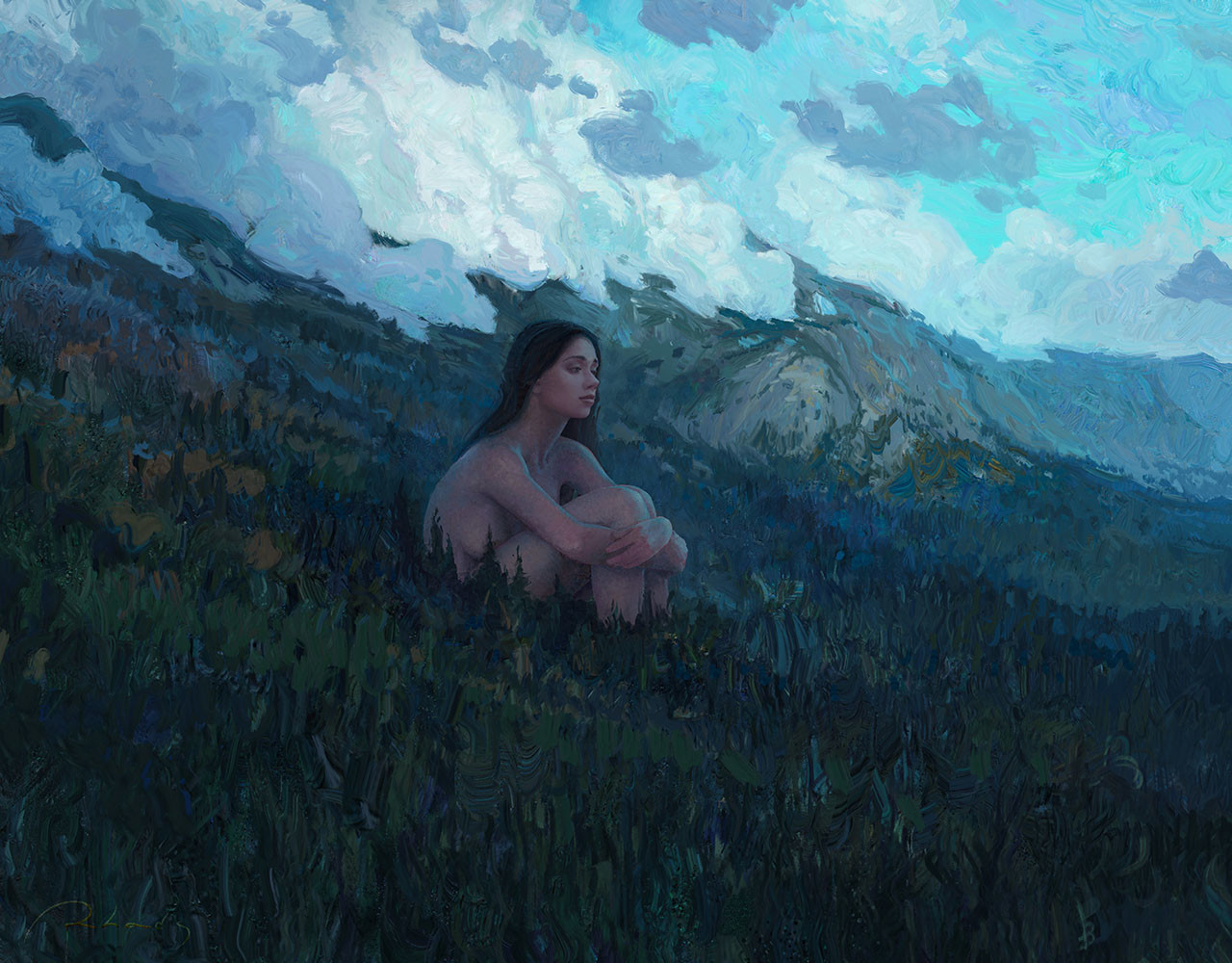 Digital Painting Illustration Artem Chebokha Rhads Woman landscape