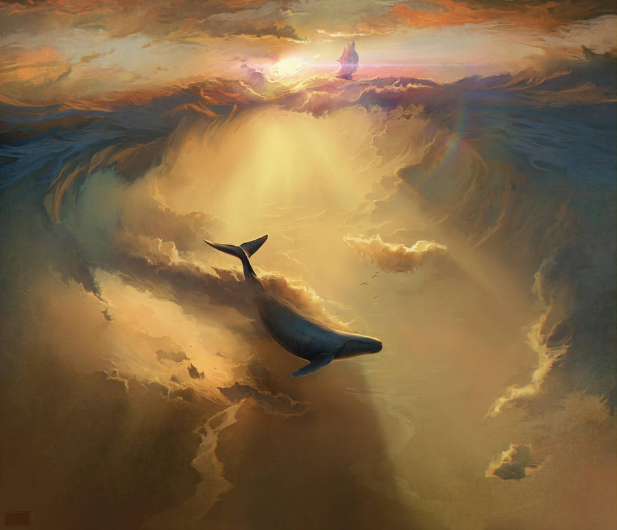 Digital Painting Illustration Artem Chebokha Rhads Whale Sky Cloud Sea