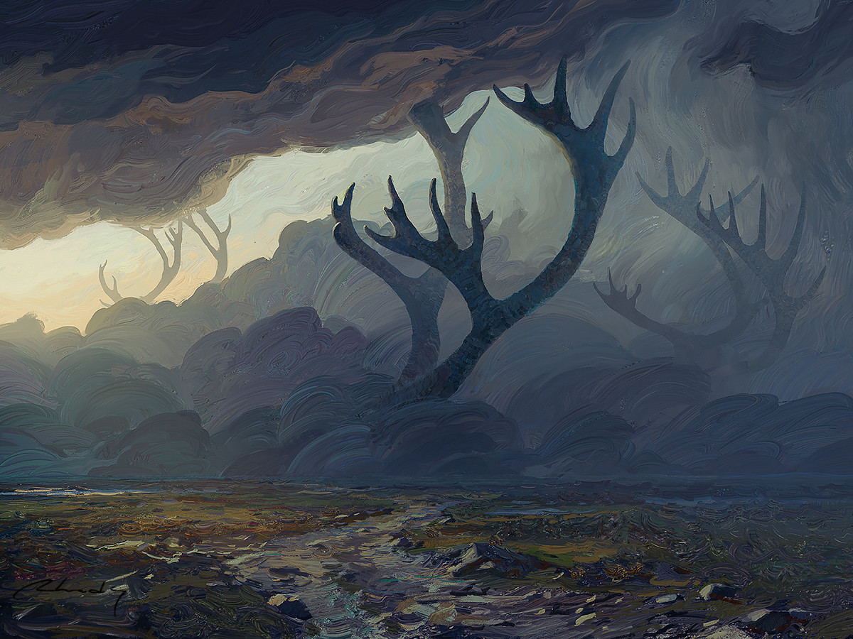 Digital Painting Illustration Artem Chebokha Rhads Landscape grey tree