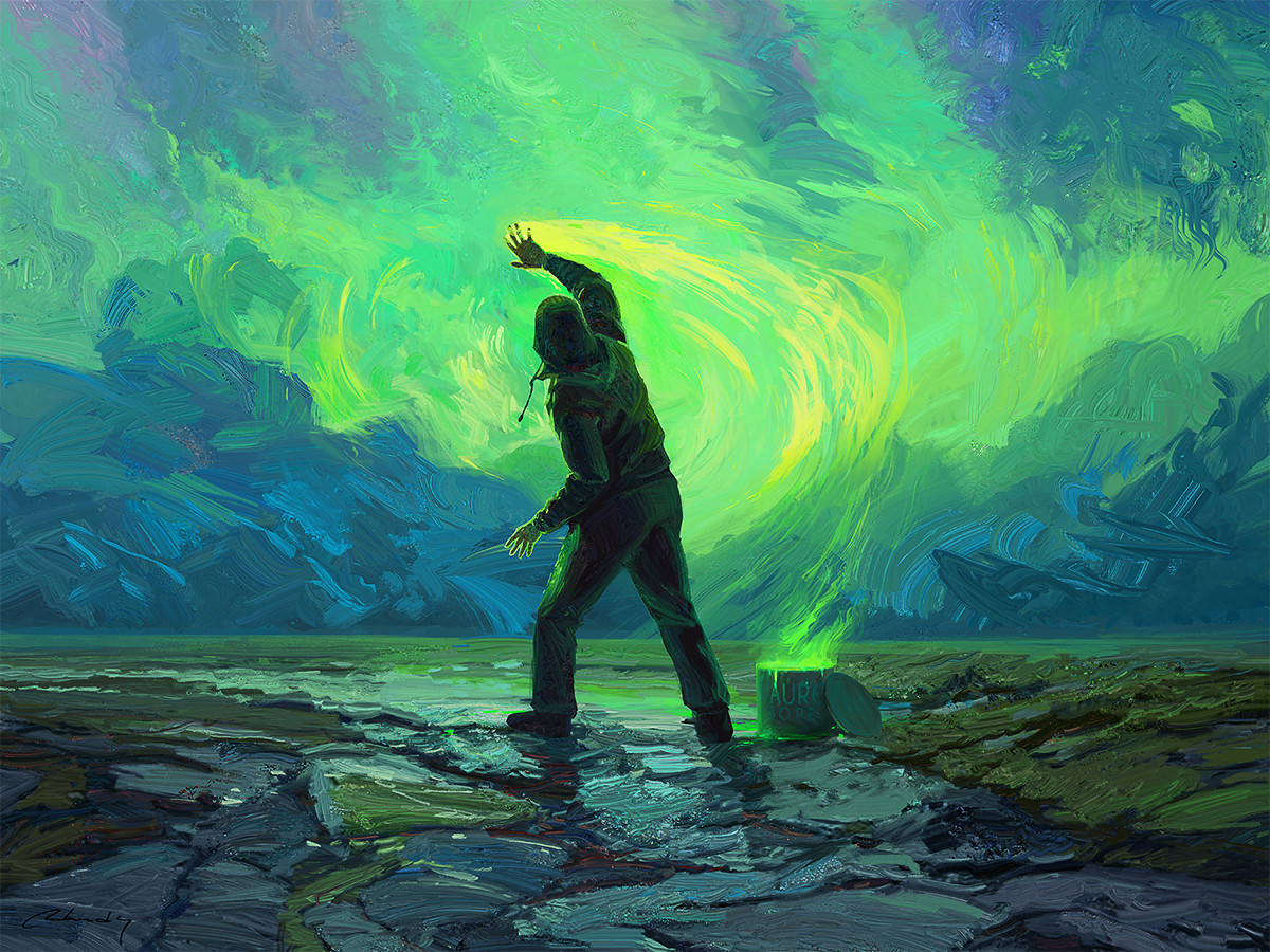 Digital Painting Illustration Artem Chebokha Rhads Man painting Sky