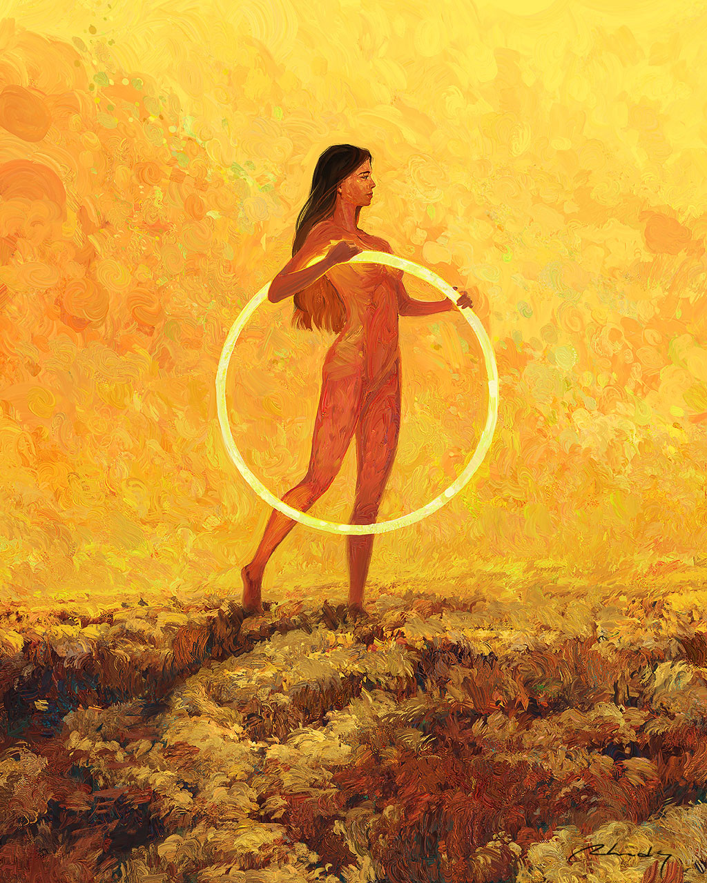 Digital Painting Illustration Artem Chebokha Rhads Woman yellow bright circle