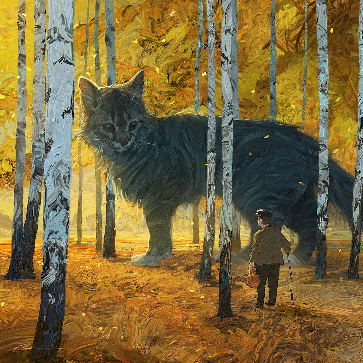 Digital Painting Illustration Artem Chebokha Rhads Giant Cat forest Yellow
