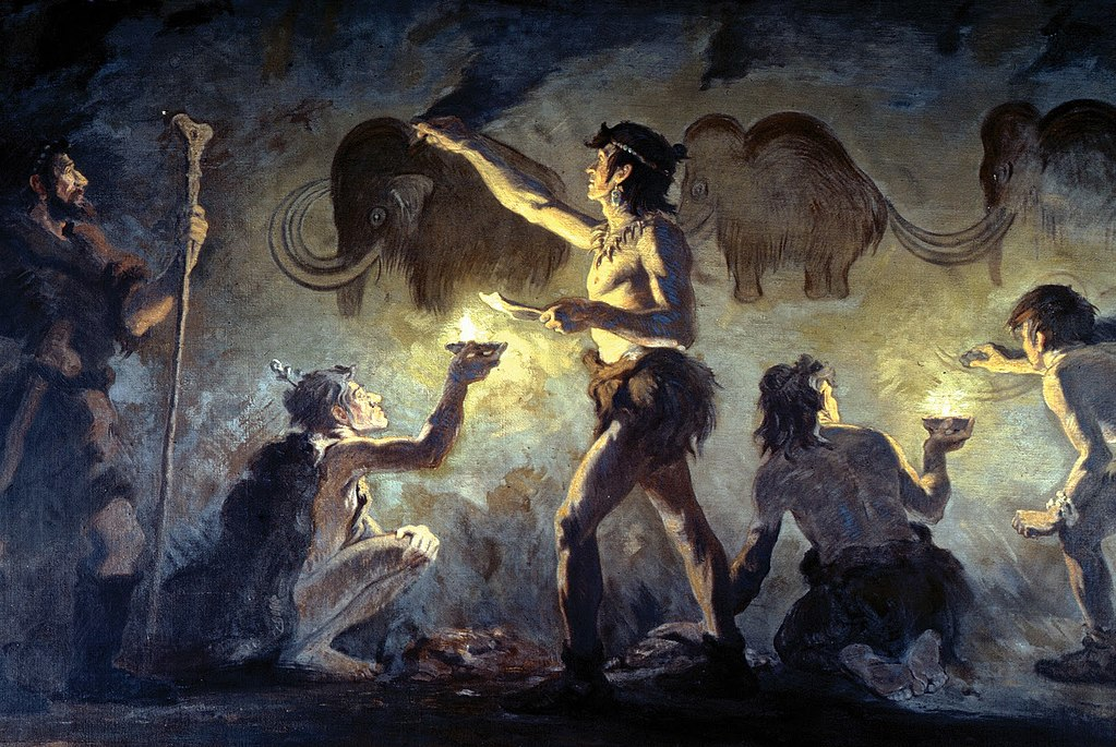 Charles R Knight, Cro-Magnon artists painting woolly mammoths in Font-de-Gaume, 1920