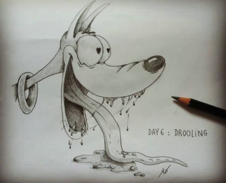 Day 6 : Drooling (bave)